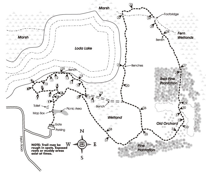 Map of Loda Lake Wildflower Sanctuary Trails